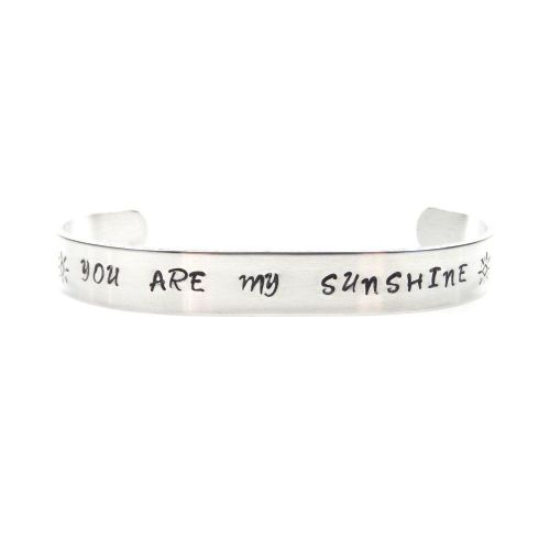 You are my Sunshine Bracelet – Hand Stamped Bangle – Free P&P